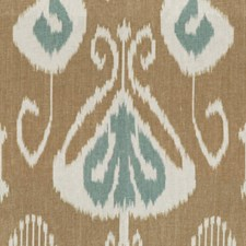 Aqua/Biscuit Ikat Decorator Fabric by Baker Lifestyle