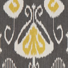 Charcoal/Yellow Ikat Decorator Fabric by Baker Lifestyle