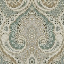Aqua/Taupe Damask Decorator Fabric by Baker Lifestyle