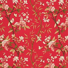 Red/Moss Print Decorator Fabric by G P & J Baker