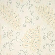 Aqua On Cream Decorator Fabric by Scalamandre