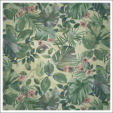 Yellow/Green/Burgundy Tropical Decorator Fabric by Kravet
