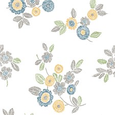 Grey Floral and Flower Wallcovering by Brewster