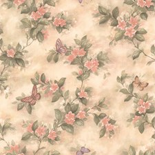 414-38573 Mariposa Pink Butterfly And Floral Trail by Brewster