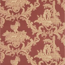 Red Toile Wallcovering by Stroheim Wallpaper