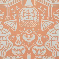 Coral/White Wallcovering by Clarence House Wallpaper