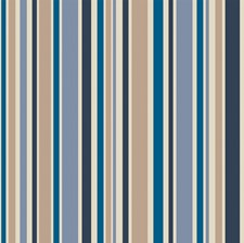 Bl/Wht/Gilvr Stripes Wallcovering by Cole & Son Wallpaper