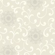 Beige/Warm Cream/Rainy Day Gray Floral Medium Wallcovering by York