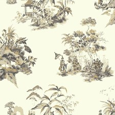 Metallic Gold/Gray Traditional Wallcovering by York