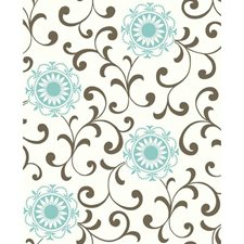Cream/Blue/Brown Wall Décor Wallcovering by York