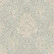 Pale Aqua/Cream/Gold Damask Wallcovering by York