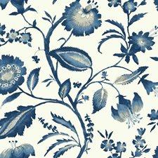 White/Light to Dark Blue/White Bohemian Wallcovering by York