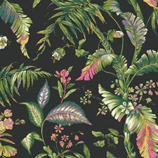 Black/Teal/Aqua Botanical Wallcovering by York
