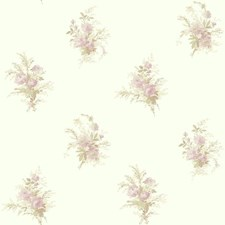 Pearlescent White/Cream/Lilac Floral Mini Wallcovering by York