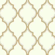 Off-white/Metallic Gold/Metallic Silver Trellis Wallcovering by York