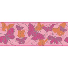 Soft Pink/Bright Pink/Orange Bugs Wallcovering by York