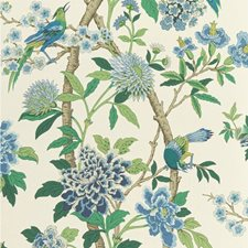 Emerald/Blue Animal Wallcovering by G P & J Baker