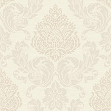 Cream/Shiny Silver/Beige Damask Wallcovering by York