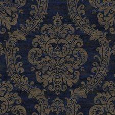 Deep Blue/Antique Gold Metallic/Darkest Blue Damask Wallcovering by York