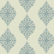 Light Blue Glass Beads On Cream Damask Wallcovering by York