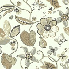 Cream/Tan/Cocoa Brown Floral Wallcovering by York