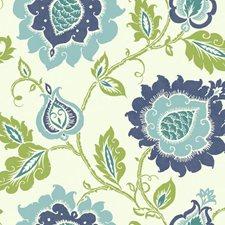 Eggshell White/Smoky Dark Blue/Robin's Egg Blue Jacobean Wallcovering by York