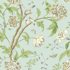 Pale Blue/Graphite Grey/Medium Grey Botanical Wallcovering by York
