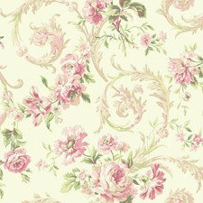 Cream/Pink/Red Floral Wallcovering by York