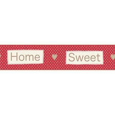 FDB50048 Red Home Sweet Home Peel & Stick Border by Brewster