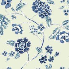 Beige Satin/Dark Blue/Medium Blue Floral Wallcovering by York