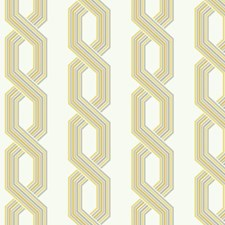 Variations Of Grey and Yellow On White Geometrics Wallcovering by York