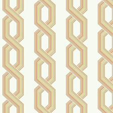 Variations Of Grey/Orange and Yellow On Cream Geometrics Wallcovering by York