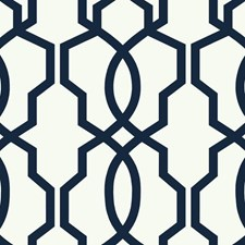 Navy Blue/White Geometrics Wallcovering by York