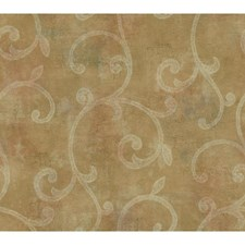 Pearled Gold/Hint Of Blush/Winter White Scroll Wallcovering by York