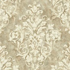 Silver/Beige/Cream Damask Wallcovering by York