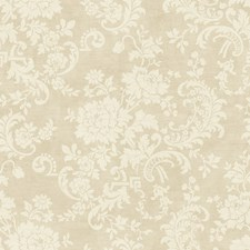 Antique Ivory Satin Floral Medium Wallcovering by York