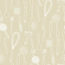 Beige/White Spatula Wallcovering by York