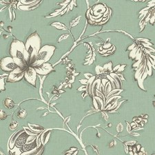 Aqua/Taupe/Off-white Floral Wallcovering by York