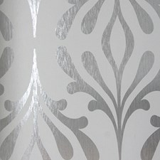 Pure White/Silver Foil Contemporary Wallcovering by York