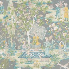 Grey Print Wallcovering by Brunschwig & Fils