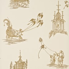 Ivory/Bronze Toile Wallcovering by Baker Lifestyle Wallpaper