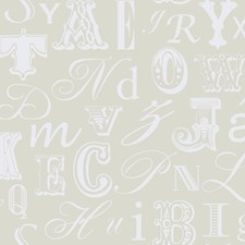 Soft Silver Pearl Metallic/White Letterset Wallcovering by York