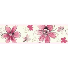 Pearl/Bright Pink/Soft Pink Children Wallcovering by York
