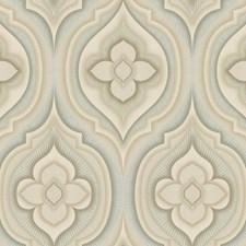 Light Aqua/Pale Green/Khaki Floral Wallcovering by York