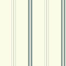 White/Teal/Silver Stripes Wallcovering by York
