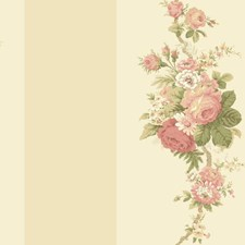 Beige/White/Soft Coral Floral Wallcovering by York