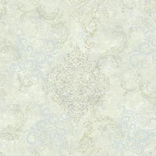 Cream/Pale Blue/Grey Damask Wallcovering by York