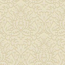 Beige/Cream/Grey Damask Wallcovering by York