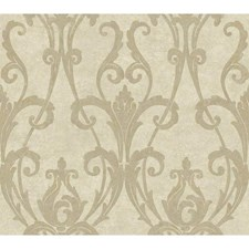 Cream/Silvery Taupe Scrolls Wallcovering by York