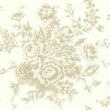 Pearlescent Antique Satin/Toasted Almond/Gleaming Gold Floral Medium Wallcovering by York